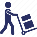 courier service, delivery, delivery postman, hand trolley, package icon