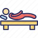 bedtime, lying, person, relaxing, resting icon