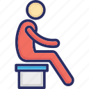 boy seat, man on bench, person, man, loneliness icon