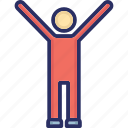 handsup, happy person, joyful, person with hands up, raised hands icon