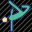 athlete, exerciser, gymnast, player, stretching icon