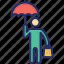 businessman, inventor, man, man with umbrella icon