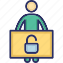 man with banner, security officer, avatar, security agent, man icon