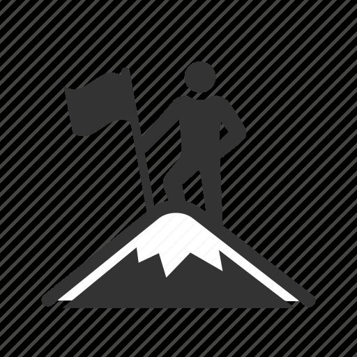Achievement, mountain, climb, peak, success, top of the world, trekker icon - Download on Iconfinder