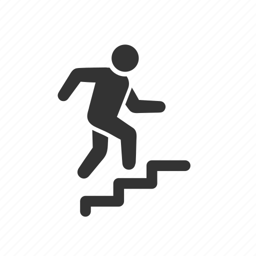 growth, progress, running, stairs, step up, steps, upstairs icon