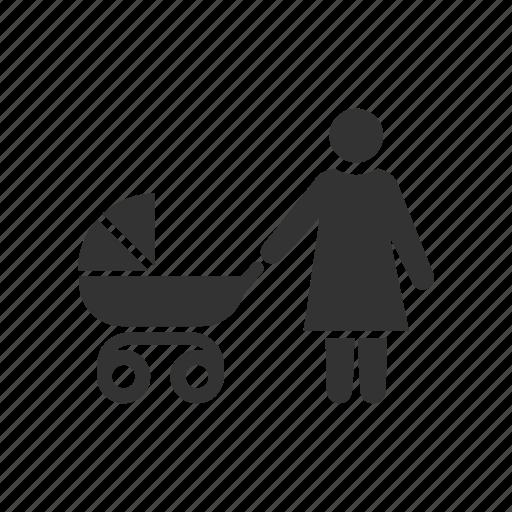 baby, mother, motherhood, mum, nurture, pram, pushchair icon