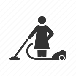 cleaning, female, housework, maid, vacuum, woman icon