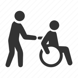 assistant, carer, disabled, help, patient, wheelchair icon