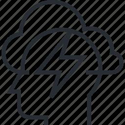 brainstorming, creativity, idea, innovation, process, thin line, thinking icon