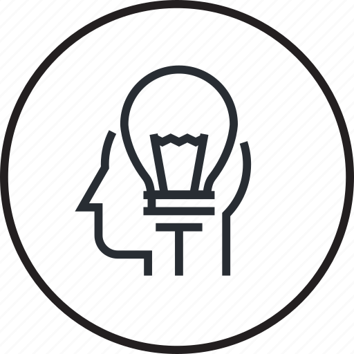 brain, brainstorming, creative, human, idea, line, process icon