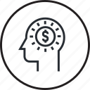 adviser, brain, finance, financial, human, money, process icon