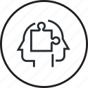 brain, consulting, human, line, process, solutions icon