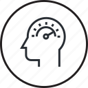 brain, capacity, head, human, line, memory, process icon