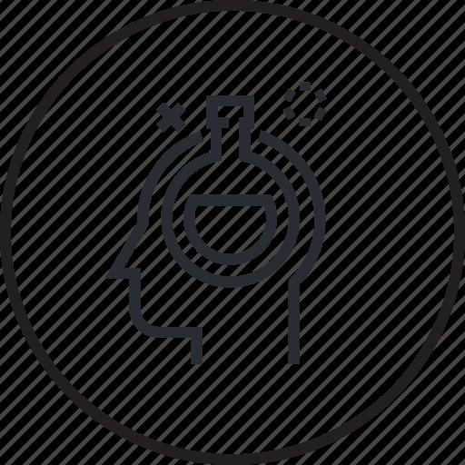 brain, head, human, line, process, research icon