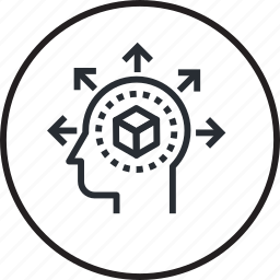 brain, human, line, process, share, thinking icon