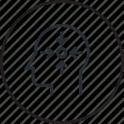 brain, focus, human, line, process icon