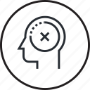 brain, decision, failure, human, line, process, wrong icon