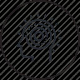 brain, head, human, line, problem, process, solve icon