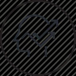 brain, head, human, line, planning, process, strategy icon
