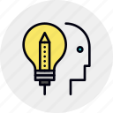 design, head, idea, innovator, lightbulb, think, thinking icon