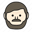 beard, emoji, face, man, moustache, nomal icon