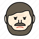 angry, beard, emoji, face, moustache, sad icon