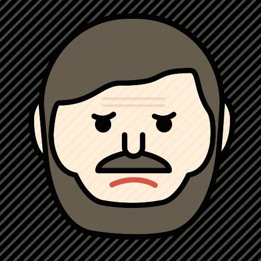 angry, beard, emoji, face, man, mustache icon