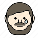 beard, emoji, face, man, mustache, sad icon