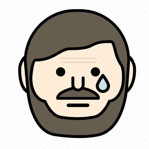 beard, emoji, face, man, moustache, sad icon