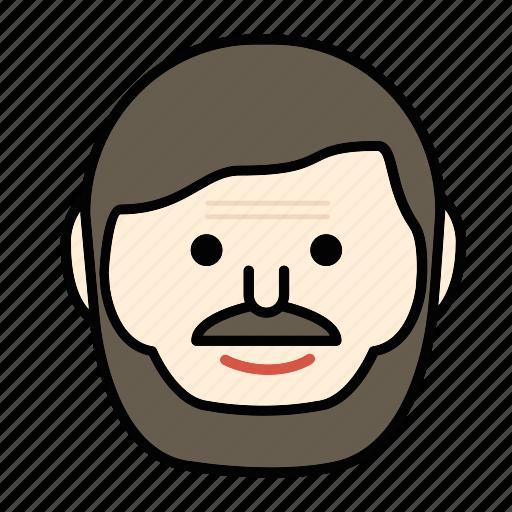 beard, emoji, happy, man, moustache icon
