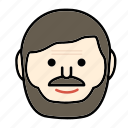 beard, emoji, face, happy, man, mustache icon