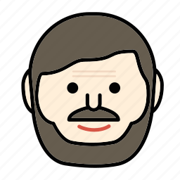 beard, emoji, face, happy, man, mustache icon