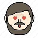 beard, emoji, face, love, man, moustache icon