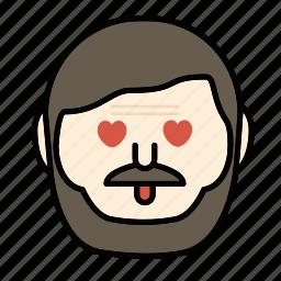 beard, emoji, face, love, man, moustache icon