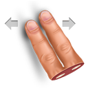 finger, gesture, horisontally, swipe, two icon