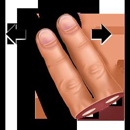 finger, gesture, horisontally, swipe, two icon