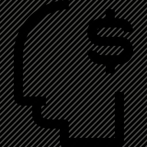 business, head, human, idea, mind, money, process icon