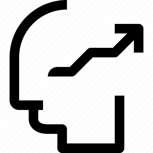 arrow, business, head, human, idea, mind, process icon