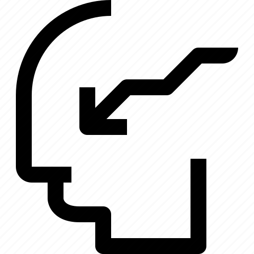 arrow, business, down, head, human, idea, mind icon