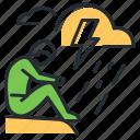 depression, lightning, sorrow, storm icon