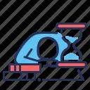 deadline, failure, procrastination, tired icon