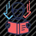 book, boy, negative, suspiciousness icon