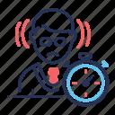 businessman, deadline, lack of time, timer icon