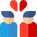broken, couple, heart, man, romance, woman icon