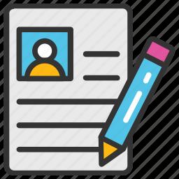 curriculum vitae, cv, job profile, resume, resume writing icon