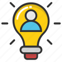 advertising, bright idea, businessman, luminous idea, success concept icon
