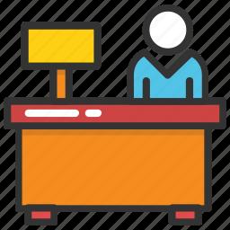 clerk, front desk, office desk, office employee, receptionist icon