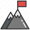 achievement concept, mission business, mountain flag, successful mission, victory icon