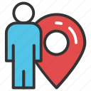 geolocalization, gps man, location positioning, man locator, man with locator icon