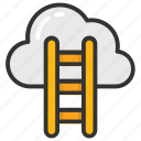 achievement, business, cloud hosting, growth, ladder icon
